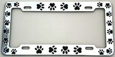 Animal Paws License Plate Frame (Chrome Plated Metal)
