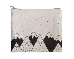 Cotton zipper pouch toilet bag handbag screen by okapiillustration