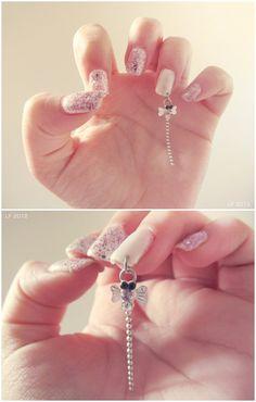 Nail Piercing by =LaauraF Diamond Nail Designs, Diamond Nails, Nail Art Designs, Diy Nails, Swag Nails, Manicure, Love Nails, Pretty Nails, Nail Piercing