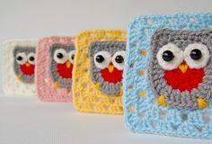 Crochet owl granny square - Dadas place