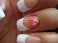 Nail Art ~ Hand Painted Pink Flower