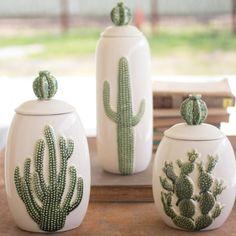 Set of 3 Ceramic Cactus Canisters