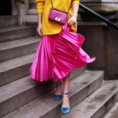 Image result for pink metallic plisse skirt