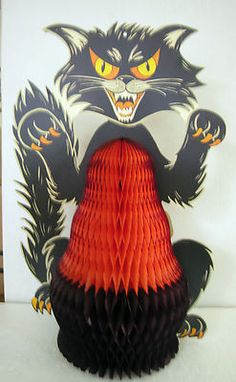 Vintage Halloween Scary Black Cat Honeycomb Diecut Cardboard