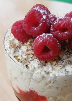 Cranachan  :a Scottish dessert made with cream, raspberries, honey, whisky and oats