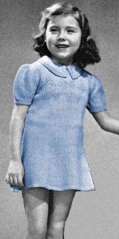 Girls Flared Dress with Patterned Yoke Vintage Knitting Pattern for download Sz 6