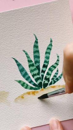 Watercolor Paintings For Beginners, Watercolor Art Lessons, Watercolor Landscape Paintings, Watercolor Plants, Simple Watercolor, Watercolor Video, Watercolor Drawing, Easy Canvas Art, Art Drawings Sketches