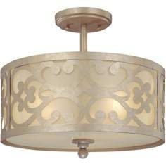 "Nanti Collection Champagne Silver 14"" Wide Ceiling Light"