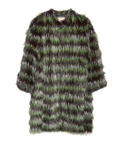 Colored Cross Stripes Fur Coat