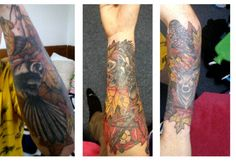 Wildlife sleeve. Autumn leaves with owl, stag, tahr, boar, fantail, crossbow, Tudor Rose and Southern Cross tattoo.