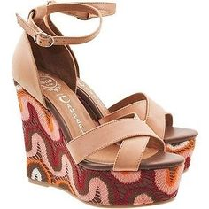 JEFFREY CAMPBELL BRADSHAW BROWN PLATFORM WEDGE COCHELLA TAN PINK LACE VINTAGE 6