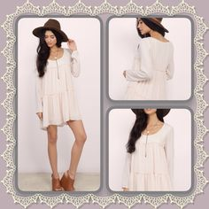 "Adorable Tiered Bohemian Dress Perfect layering piece with boots, lovely ivory tiered dress features long sleeves and scoop neck, fully lined: length:31.5"" Bust:34"" Dresses Mini"