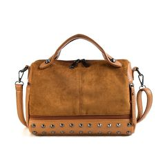 Buy Herald Fashion Women Top-handle Bags with Rivets High Quality Leather Female Shoulder Bag Large Vintage Motorcycle Tote Bags Sac Leather Rivets, Leather Bag, Vegan Leather, Big Tote Bags, Studded Bag, Fashion Bags, Fashion Women, Women's Fashion, Women's Handbags
