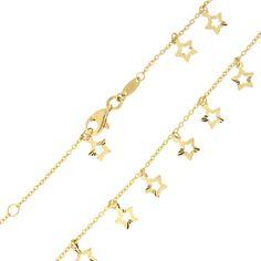 "14k Yellow Gold Dangling Diamond-Cut Stars Anklet - 10"""