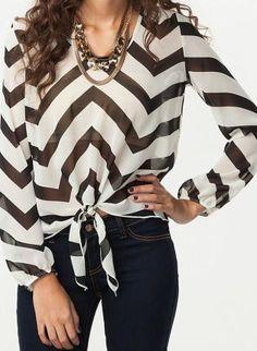 Black & White Chiffon Chevron Blouse,  Top, chevron blouse, Chic