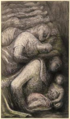 Henry Moore, Row of Sleepers 1941 © The Henry Moore Foundation.All Rights Reserved, DACS Nature Drawing, Life Drawing, Drawing Sketches, Art Drawings, Sculpture Painting, Abstract Sculpture, Bridget Riley, Land Art, Henry Moore Drawings