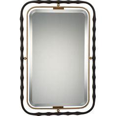 "Quoizel QR1922 Reflection 37.5"" x 25"" Rectangular Decorative Mirror Western Bronze Home Decor Mirrors Lighting"