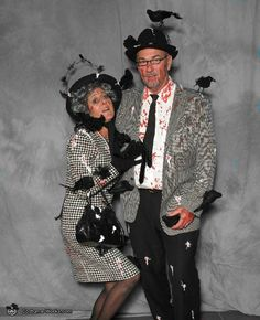 """Alfred Hitchcock's """"The Birds"""" couples costume. Halloween """"Beware the Birds!"""" Edgar Allan Poe & Alfred Hitchcock Black & White Party"""