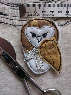 Barn Owl Brooch, Barn Owl jewellery, fabric appliqué brooch,statement jewellery, pin, badge, bird, gifts for her,