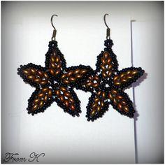 Star Earrings, Beaded Earrings, Twin Beads, Super Duo, Czech Glass Beads, Type 3, Caramel, Beading, Metallic