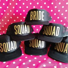 Set Of 10 Wedding Party Hats. 9 Squad Hats. 1 Bride Hat. Bachelorette Party Hats. Hen Party Hats. Snapback Trucker Cap. by SoPinkUK on Etsy