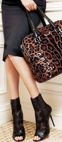 Jimmy Choo ~ Black Lace Botties + Leopard Print Satchel