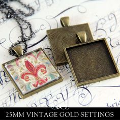1 inch Square Pendant Trays 5 Color Options (25mm) – Annie Howes