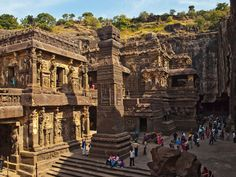 Ellora Caves, Kailasanatha Temple. Buddhist, Hindu and Jain rock-cut temples and viharas and mathas were built between the 5th century and 10th century. The 12 Buddhist (caves 1–12), 17 Hindu (caves 13–29) and 5 Jain (caves 30–34) caves, built in proximity, demonstrate the religious harmony prevalent during this period of Indian history.