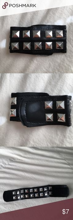 """Faux leather rocker cuff Studded faux leather cuff purchased for a """"rocker"""" costume from a local party store. Velcro clasp. Jewelry Bracelets"""