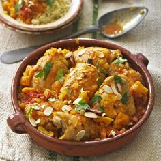 Moroccan spiced chicken with tomatoes, saffron and apricots recipe - http://www.womanandhome.com/recipes/531352/moroccan-spiced-chicken-with-tomatoes-saffron-and-apricots#