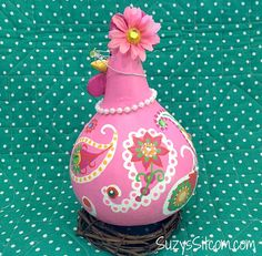 chicken hen rooster gourd art paisley painted by SuzysSitcomStore