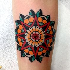 Traditional red star and mandala tattoo tattoos ○ ● mandala tattoo, tra Traditional Mandala Tattoo, Traditional Tattoo Woman, Traditional Tattoo Design, Traditional Tattoos, Make Tattoo, Tattoo You, Colorful Mandala Tattoo, Geometric Mandala, Classy Tattoos