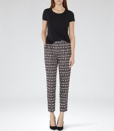 Womens Black Loose-fit Printed Trousers - Reiss Goa