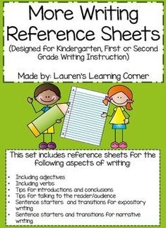 Writing for students can be challenging.  The resources in this pack can help your students with writing!  These reference sheets can be used as class posters, handouts for your students writing folders or as part of a writers notebook.  They provide students with structure, tips, ideas and examples for writing the following genres: personal narratives, opinion and informational writing.
