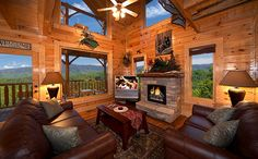 log cabin living room | Luxury and comfort await you in these elegant 1 bedroom cabins. Great ...