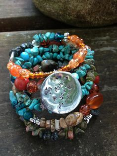 Dance Your Dream: Five Wrap Memory Wire Bracelet with Metal Stamped Pendant on Etsy, $40.00