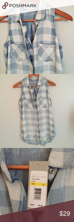 Kenneth Cole plaid chambray sleeveless button down Super sift tencel!  New with tags.  Fits TTS. Measurements happily given upon request!  No trades. Reasonable offers welcome 🍾Note: 20% off bundles of 2+ items in my closet! Kenneth Cole Reaction Tops