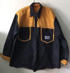cb2b3560b491 Mens Vintage Get Used by Elie Black Yellow Denim Jean Jacket Tu PAC XL   GetUsedbyElie