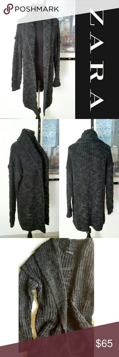 "Long Knitted Cardigan Dark gray oversized cable knit cardigan from Zara Knit. Soft wool/acrylic mixture really warm and stylish. 34"" long shoulder to bottom hem. It's meant to fit oversize and loose. Size it's S but can also work for M. Zara Jackets & Coats"