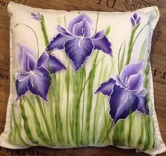 Items similar to Hand painted Purple Iris garden cushion, throw pillow, pillow cover on Etsy : Hand painted Purple Iris garden cushion, throw pillow, pillow cover by CCCraftsatHome on Etsy Fabric Painting, Fabric Art, Fabric Crafts, Fabric Paint Designs, Garden Cushions, Iris Garden, Purple Iris, Painting Patterns, Printing On Fabric