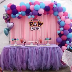 Paw patrol party idea for girls backdrop centerpiece food table balloons set up in pink purple turquoise skye everest Puppy Birthday Parties, 2nd Birthday Party Themes, 4th Birthday, Girl Paw Patrol Party, Paw Patrol Birthday Theme, Skye Paw Patrol Cake, Paw Patrol Balloons, Paw Patrol Party Decorations, Kids Party Tables