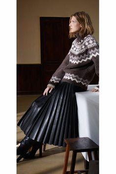 Celine long pleated leather skirt