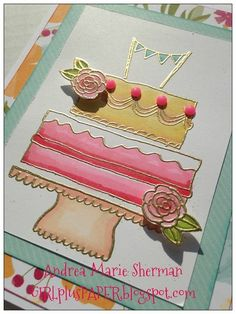 Swap card using Happy Times paper and SOTM Celebrate with Cake by Andrea Sherman