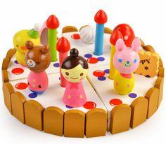 Corte do bolo de morango casa de madeira ver brinquedos de presente de natal festa Pizza de Chocolate Mini simulação(China (Mainland))