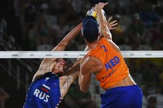 DAY 1:  Men's Beach Volleyball - Russia vs the Netherlands - Nikita Liamin of Russia and Robert Meeuwsen of the Netherlands