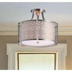 Contemporary White Shade Satin Nickel Semi-Flush Chandelier - Overstock™ Shopping - Big Discounts on Otis Designs Flush Mounts