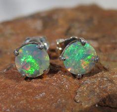Natural Ethiopian Opal Stud Earrings Sterling Silver October Birthstone Jewelry 1176