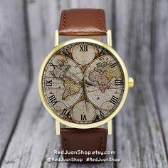 Watches Unisex Golden Round Shell World Map By Plane Watch Date Quartz Denim Fabric Wristwatch Analog Mujer Relogio Feminino