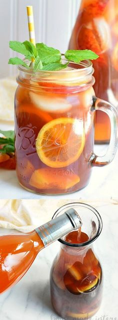 This Spiked Peach Sweet Tea recipe from Home. Made. Interest. is filled with sweetened frozen peaches for a summer cocktail recipe that is perfect for sipping on a hot summer day!