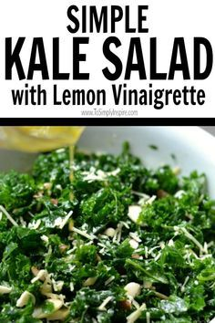 Simple Kale Salad with Lemon Vinaigrette isa healthy addition to lunch or dinner. Added sliced almonds and parmesan cheese pair perfectly with the tangy lemon dressing. Kale Salad Recipes, Veggie Recipes, Vegetarian Recipes, Cooking Recipes, Healthy Recipes, Paleo Kale Salad, Kale Salads, Broccoli Salad, Recipes